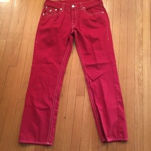 Men's True Religion Red Straight Fit Jeans